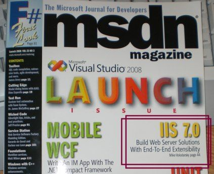 IIS 7.0 extensibility in MSDN Magazine Launch edition