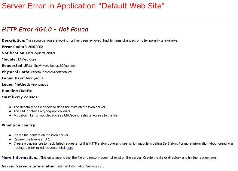 IIS7 Detailed Error Page