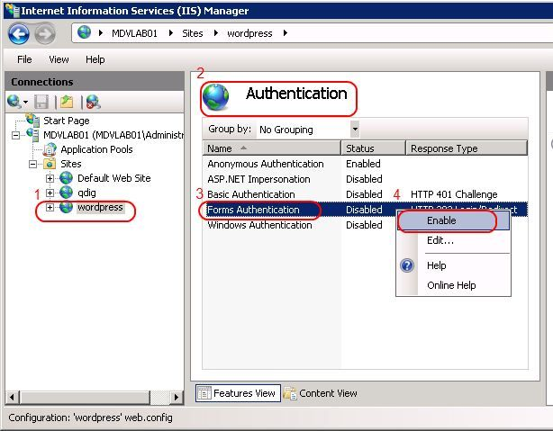 Configure IIS authentication method with IIS7 Admin tool