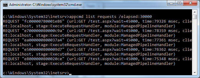 List hanging requests on IIS