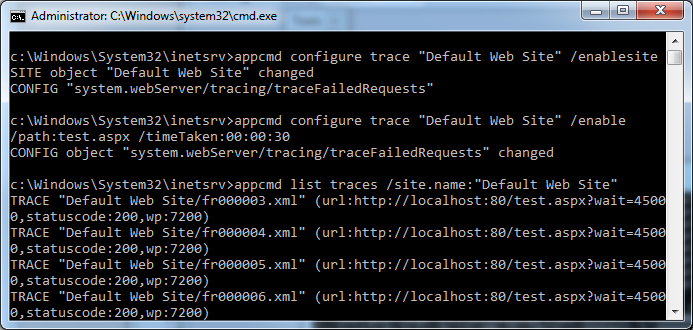 Turn on IIS Failed Request Tracing for hanging requests
